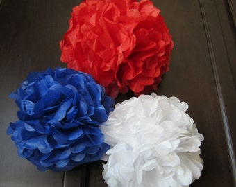 Tissue Paper Pom Poms, Red White & Blue...  Parties... Set of 3 Medium ...YOU PICK COLORS