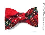 Mens Boys Clip-On Bow Tie  Hannes Meyer  Red and green Wool Tartan bowtie