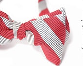 self-tie Mens Bow Tie Toyo Ito- Silk striped Red and white bowtie