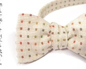 self-tie Wedding Mens Bow tie Woven yarn dyed cream with orange, green, yellow dots bowtie New Years Look