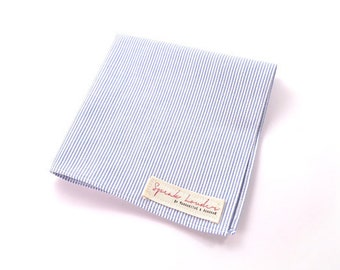 Mens Pocket Square Blue & white stripe-The Good, the Bad and the Ugly
