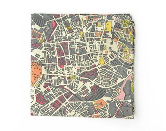 Mens Pocket Square The World Is Not Enough Grey- London map