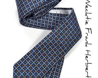 Blue and orange dots Necktie - High Quality Woven Silk Necktie -  The Frank Herbert tie