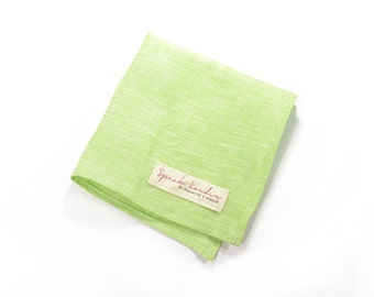 Wedding Mens Pocket Square Green Linen- Winchester '73