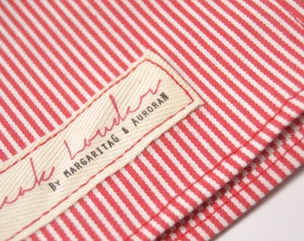 Mens Pocket Square red and white stripe