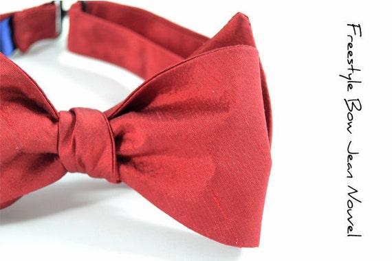 self-tie Mens Bow Tie Jean Nouvel- Red Dupioni silk bowtie