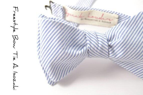 self-tie Wedding Mens Bow Tie A. Isozaki- blue white stripe seersucker bowtie