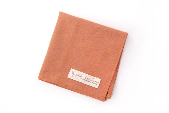 Mens Pocket Square Orange yellow Chambray-Unforgiven