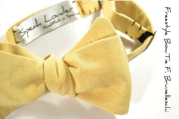 self-tie Wedding Mens  Bow Tie light yellow Organic Cotton bowtie