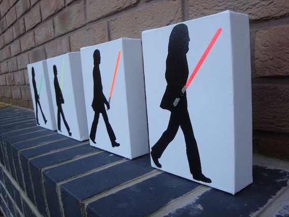 Star Wars / Beatles  Abbey Road (With lightsabers) Spray Paint Stencil on Canvas