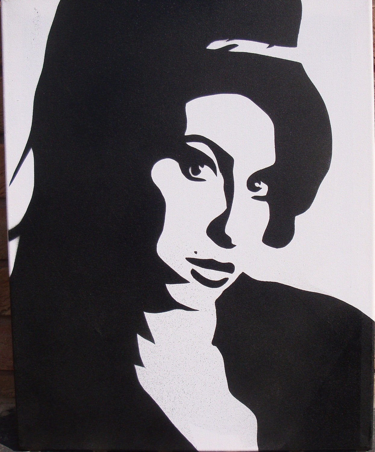 Amy winehouse stencil painting on canvas