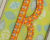 Personalized wooden painted name letter of your choice in orange and lime for boys