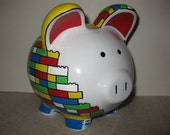 Lego Piggy Bank -  (Unofficial) - Personalized -  MADE TO ORDER