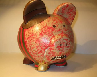 Personalized Piggy Bank, Freddy Krueger Piggy Bank -  Large - MADE TO ORDER