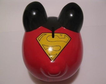 Personalized Piggy Bank, Large,  Superpig Piggy Bank, - Inspired by Superman - (Unofficial)  - MADE TO ORDER