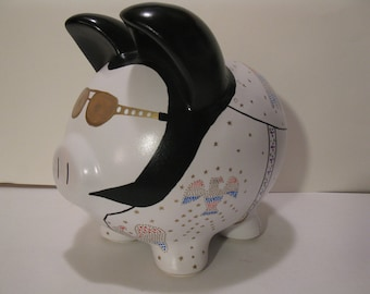 Personalized, Handpainted, Elvis Piggy Banks - Made To Order - Would you believe......ELVIS   (Unofficial)