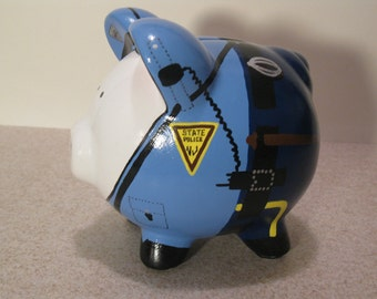 Police Piggy Bank, Personalized, State Trooper Piggy - Small -  MADE TO ORDER