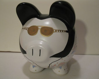 Piggy Bank, Personalized, Handpainted, Elvis Piggy Banks - Made To Order - Would you believe......ELVIS   (Unofficial)