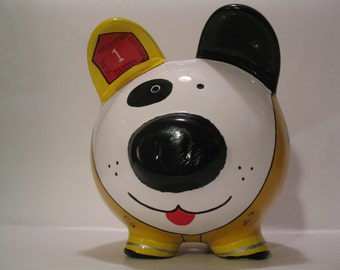 Personalized, Handpainted, Firefighter Dalmation Piggy Bank -  MADE TO ORDER