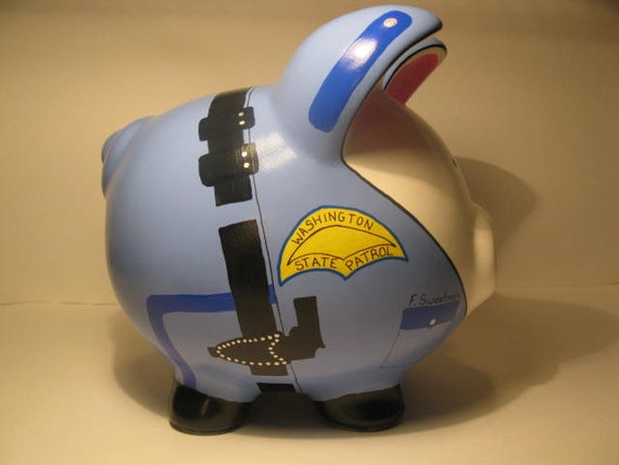 """Large Police Officer """"Pigs"""" Piggy  Banks - MADE TO ORDER and Personalized"""