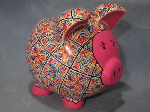 Personalized Patterned Piggy Bank - You choose the Fabric,   I Make the Pig - MADE TO ORDER