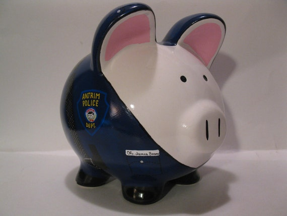 Police officer pigs piggy bank made to order for How to make a piggy bank you can t open