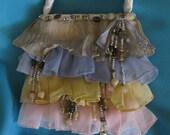 "FUN Beautiful Vintage ""Dress Like""  Purse W/ Satin, Chiffon, Sequins and Beads"