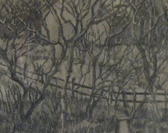 Original Signed Pencil Drawing by St Onge of A Rural Farm Scene on a Winter Day Framed Artwork 1981