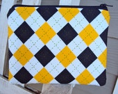 Yellow and Navy Argyle - A zippered pouch