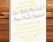 Vintage Calligraphy Script Wedding Invitation