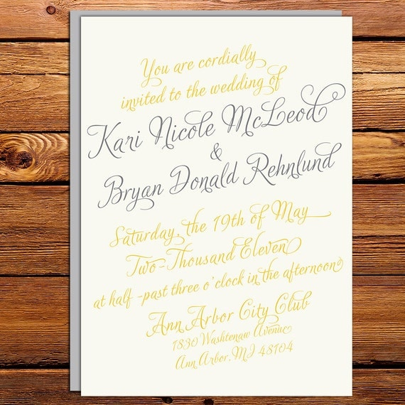 Vintage Calligraphy Script Wedding Invitation By Kxodesign