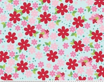 Hoos in the Forest Cotton Fabric by Doohikey Designs for Riley Blake Blue with Flowers-1 yard