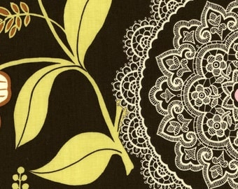 Amy Butler Cotton Fabric  Lotus Lacework in Olive 1 yard