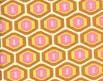Amy Butler Cotton Fabric  Midwest Modern Honeycomb in Rust 1 yard