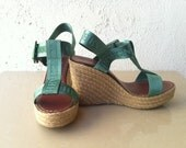 RESERVED FOR MONICA Sz 39 8.5 Vintage 90's Chevignon Wicker Platform Sandals Shoes Open Toe