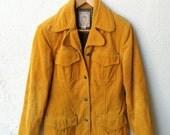 15 DOLLAR SALE Vintage Corduroy Yellow Mustard Jacket Blazer Size M 8