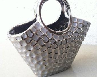 Vintage 80's ceramic basket purse bag, silver, beehive pattern, big