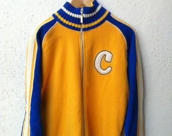 SALE Vintage 90's Woolen College Yellow Blue Preppy Letter Varsity Sweater Jacket