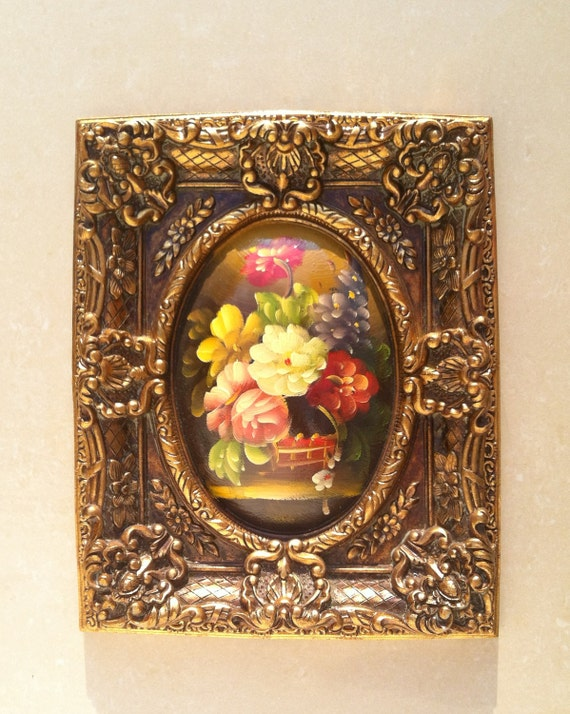 CLEARANCE SALE Vintage hand painting  floral with wide golden victorian style frame, oil and lacquer