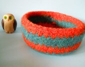 felted wool treasure bowl tangerine and ocean striped Reserved for C.