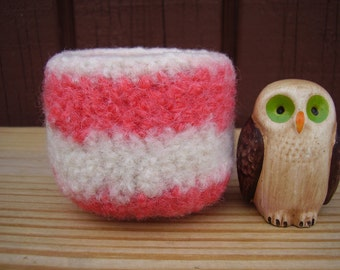 wee felted wool bowl ring holder striped square container watermelon