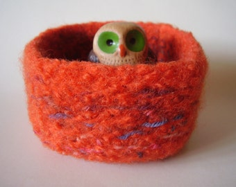 felted wool bowl container treasure dish  jewelry holder tangerine mix