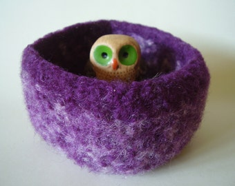 felted wool bowl container treasure dish Violet and cream square