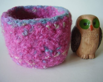 wee felted wool container ring holder rose mix