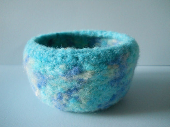 turquoise fuzzy felted wool bowl