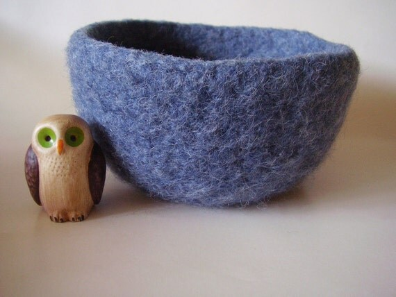 felted wool bowl container treasure dish fuzzy Blue