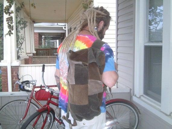 Corduroy Patchwork Backpack Sack