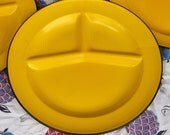 RESERVED FOR ALEXANDRA Set of 4 Yellow Enamelware Divided Plates