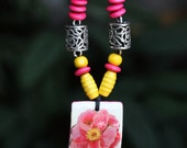 Necklace: Pink Flower in Guadua
