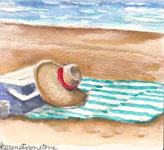 Beach, summer, vacation, Original Miniature Watercolor ...Beach Essentials